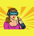 Vr glasses woman drinking wine from a bottle