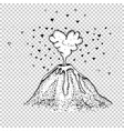 with volcano and hearts vector image vector image