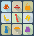 Woman clothing icons set vector image vector image