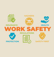 work safety concept with icons and signs vector image