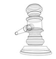 3d outline gavel rendering 3d vector image