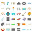 asphalt icons set cartoon style vector image vector image