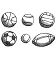 Ball sketch set with shadow isolated on white vector image