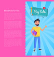 best deals for you big sale poster man holds box vector image