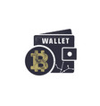bitcoin wallet emblem crypto currency label and vector image vector image