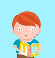 boy reading book card design vector image vector image