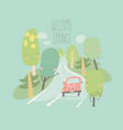 car is driving on road through spring forest vector image vector image