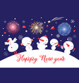 christmas card with snowmen on a blue sky vector image vector image