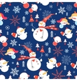 Christmas pattern with snowmen vector image