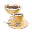 coffee doppio and mexican dessert panocha vector image