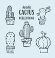 cute cactus cartoon sticker cactus sticker cute vector image