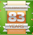 eighty three years anniversary celebration design vector image vector image