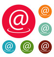 email address icons circle set vector image vector image
