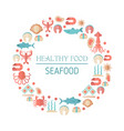 fish and seafood flat icon fish and seafood flat vector image vector image