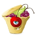 Funny cupcake monster with currants cherries and vector image