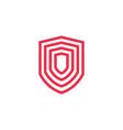 geometric shield logo icon line outline monoline vector image vector image