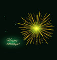 golden green fireworks background copy space vector image vector image