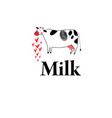 graphic cow and milk vector image vector image