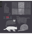 Handdrawn patterns with cats vector image vector image