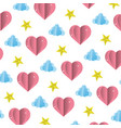 heart and cloud with bright star background vector image vector image