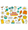 hello summer collection set design on white vector image vector image