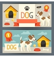 Horizontal banners with cute dog icons and objects vector image vector image