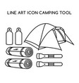 line art icon camping tool vector image vector image