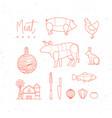 meat menu flat design elements vector image vector image