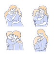 motherhood mother and daughter mom hugging son vector image