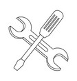 outline industry screwdriver and wrench equipments vector image vector image
