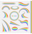 Rainbows in different shape realistic set vector image