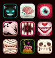 scary app icons on black background creepy mobile vector image