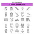 school elements line icon set - 25 dashed outline vector image vector image