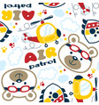 seamless pattern with funny helicopter pilot vector image