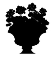 Silhouette of blooming flowers in a vase vector image vector image