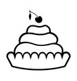 simple cream pasty icon with a cherry on top vector image vector image
