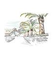 sketch european city embankment croatia palm vector image vector image