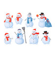 snowman cartoon christmas characters with happy vector image vector image