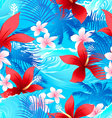 tropical red hibiscus flowers with surfing wave vector image vector image