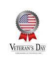 veterans day motivational poster with medal badge vector image vector image