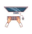 view aerial hands with desktop computer vector image vector image