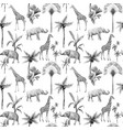 watercolor seamless patterns with safari vector image vector image