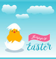 white easter chick hiding in an easter egg snow vector image