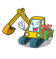 with gift excavator mascot cartoon style vector image vector image