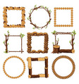 wooden frames set isolated on white background vector image