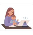 working mother baboy and laptop young woman wi vector image vector image