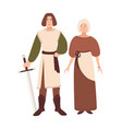 young couple dressed in middle ages clothes vector image vector image