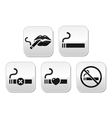Sexy lips with cigarette no smoking button vector image