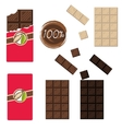 Bar of chocolate set Sealed and open wrap vector image