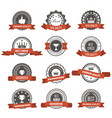 emblems badges and stamps with ribbons - awards vector image
